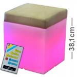 CLE Lichtobjekt LED Würfel Leuchte Dett Cube Midi mit Polster 38 x38 cm RGB mit Fernbedienung
