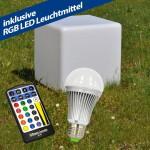 RGB Würfel Leuchte GARDEN CUBE Dett IP44 LED Sitzwürfel  5W E27 5m Kabel 45CM